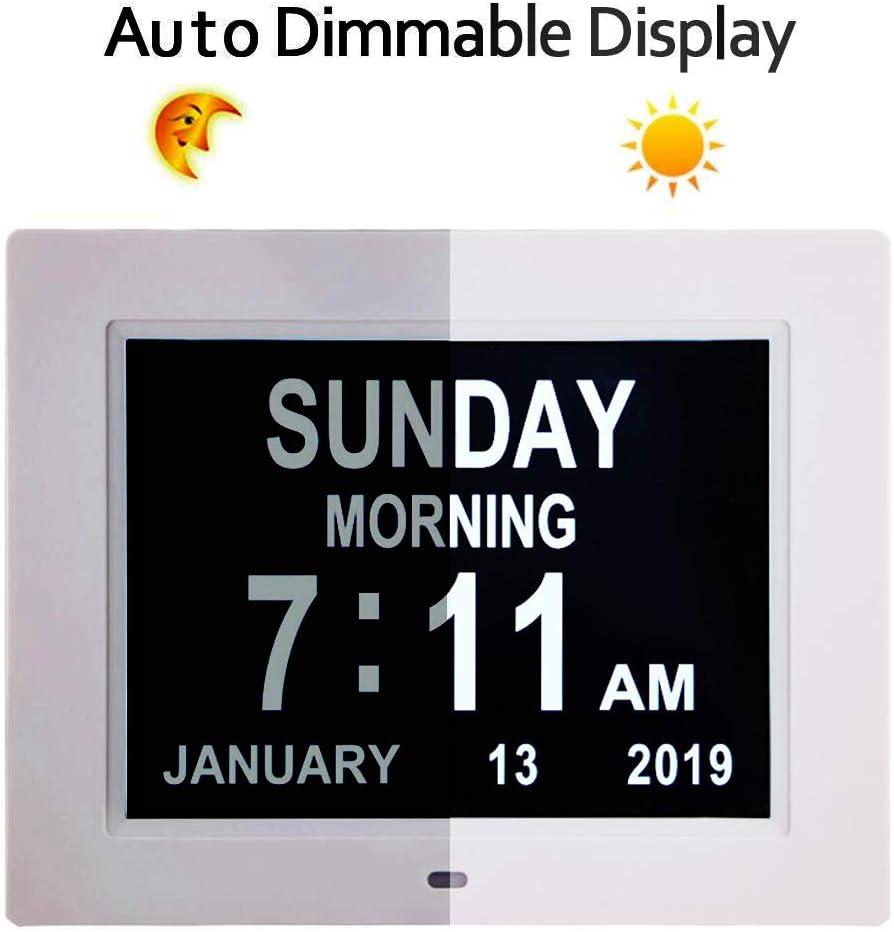 TMC - Reloj de día con calendario digital, extragrande, no abreviado, día y mes, perfecto para personas mayores y demencia de visión deteriorada, 20 cm (blanco): Amazon.es: Hogar
