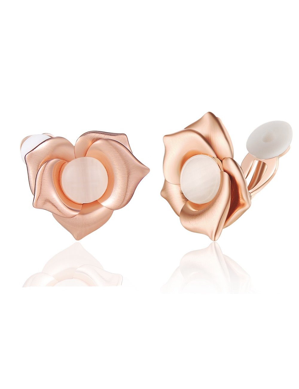 XZP Flower Clip On Earrings Rose Gold Girls Earring Pink Opal Jewelry Gift for Women