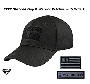 Condor Flex Tactical Cap (Black) + FREE Stitched Velcro Flag & Warrior Patch