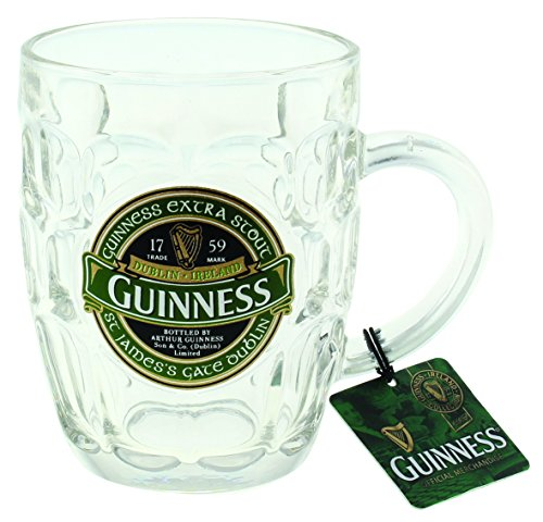 - Guinness Green Collection Dimpled Tankard - Large Glass Beer Mug
