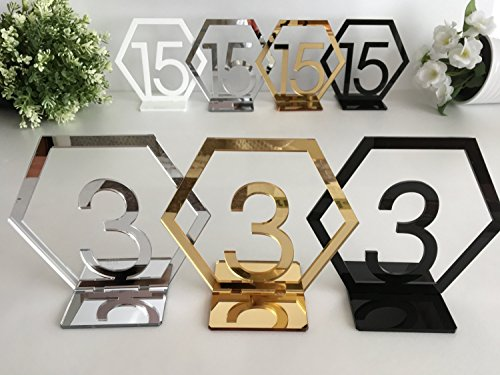 RUIXUAN Acrylic Geometric Table Numbers,Wedding Hexagon Table Numbers, Boho Centerpiece Table Decor, Mirror Gold Table Decor (Silver, 25PCS)