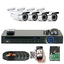 GW Security 1920x1080P HD CVI 4 Channel Security System + 4 HDCVI 1080p 2.1MP Bullet Camera 2.8-12mm Varifocal Lens Motion Detect Smartphone Access