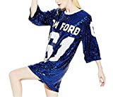 Womens Fashion Sparkle Glitter Sequins Paillette Hip Hop Shirt Tank Top Clubwear (One Size, Blue)