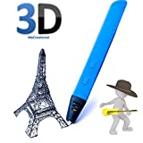 3D Printing Pen Professional Slim ABS/PLA Power Bank compatible Speed adjustable (Blue) 9 meters Free 1.75mm PLA filament for Doodling, Education, 3D Modelling for kids and artists MyCreational