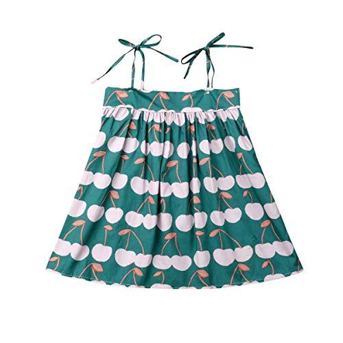Newborn Kid Baby Girls Summer Clothes Off-Shoulder Dress Cherry Print Ruffles Skirt Halter Strap Dresses (Green, 3-4T) - Cherry Ruffle