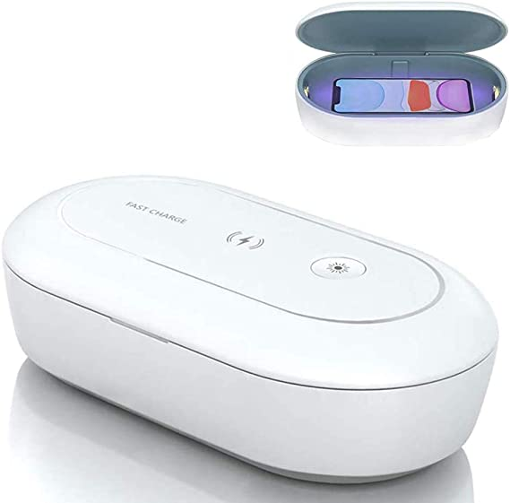 Watch Toothbrush Keys Portable UV Disinfection Box with 15W Fast Wireless Charger and Aromatherapy Function 3-in-1 Ultraviolet Sanitiser for Cellphone Auelife UV Sterilizer Box Glasses