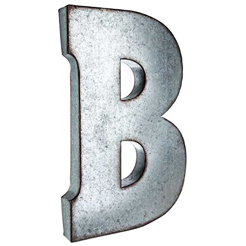 Huge 20 Metal Alphabet Wall Decor Letter B Rusted Edge Galvanized Metal
