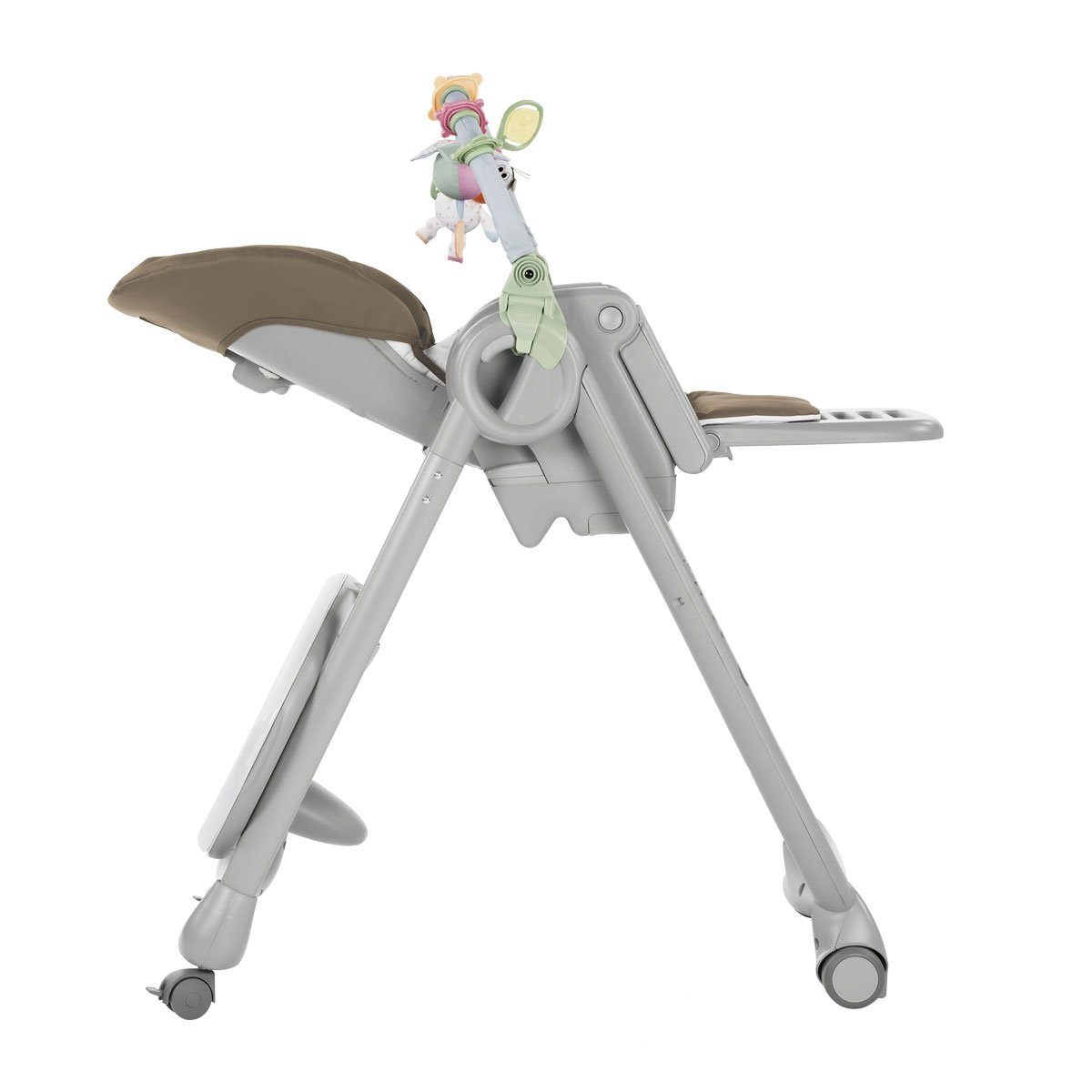 4 ruedas Trona//hamaca compacta con barra de juegos color Gris Dove Grey-Marr/ón Chicco Polly Magic Relax