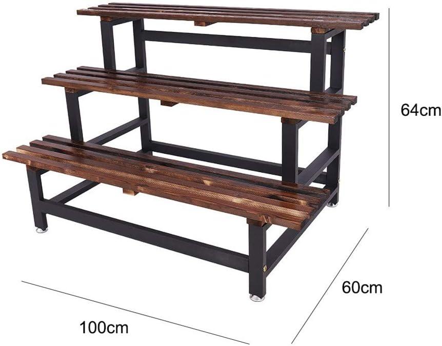 Guolipin Blumenregal Soporte de Planta de Escalera de Metal con Maceta de exhibición de macetas de jardín al Aire Libre de 3 Niveles (Color : Negro, tamaño : 100 * 65 * 60cm): Amazon.es: Hogar