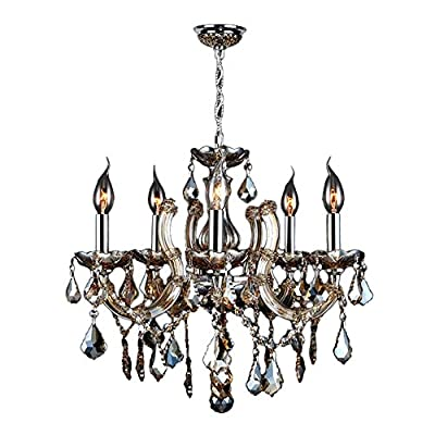 "Worldwide Lighting Catherine Collection 5 Light Chrome Finish and Golden Teak Crystal Chandelier 18"" D x 18"" H Medium"