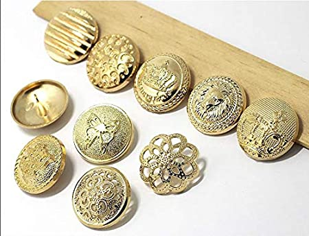 Color: 1 Flower, Size: 15mm Maslin 5pcs Golden Button Metal Sewing Button for Jacket Blazer Sweaters Gift Crafts Handwork Clothing Accessories DIY Material 15-25mm