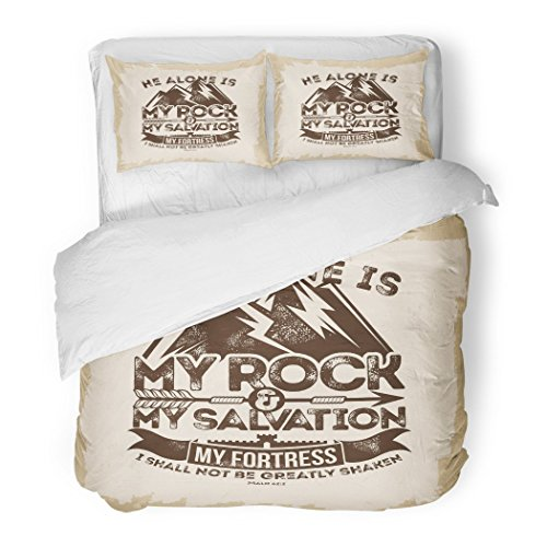 SanChic Duvet Cover Set Bible Lettering Christian He Alone is My Rock Salvation Fortress I Shall Not Be Greatly Shaken Psalm Decorative Bedding Set Pillow Sham Twin Size by SanChic