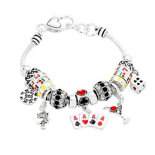 Lola Chip (Lola Bella Gifts Casino Poker Black Jack Ace Spades Theme Charm Bracelet w Gift Box)