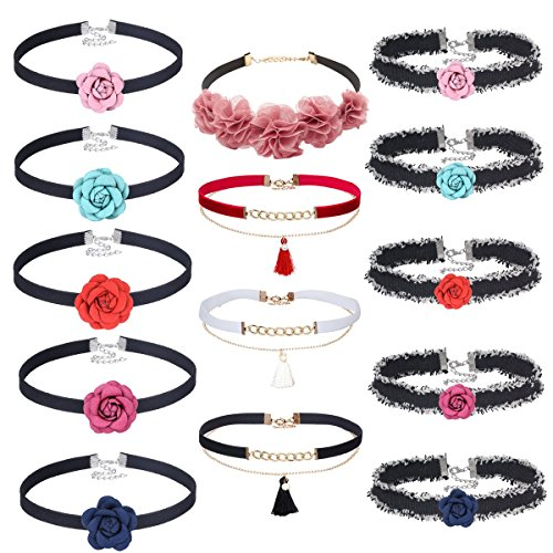 Flower Choker Necklace Set (Mingjun Choker Necklaces Set Adjustable Tattoo Neck Chokers Flowers bloom beauty for lady)