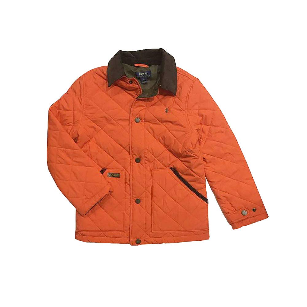 Polo Ralph Lauren Boy's Quilted Barn Jacket, Medium(10-12 yrs), Travel Orange