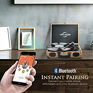 Record Player, VIFLYKOO Record Player Vinyl Turntable with 3-speed 33/45/78 RPM Bluetooth Vinyl LP Player Built-in 2 speakers /Headphone Jack/USB/AUX in/RCA output – Natural Wood