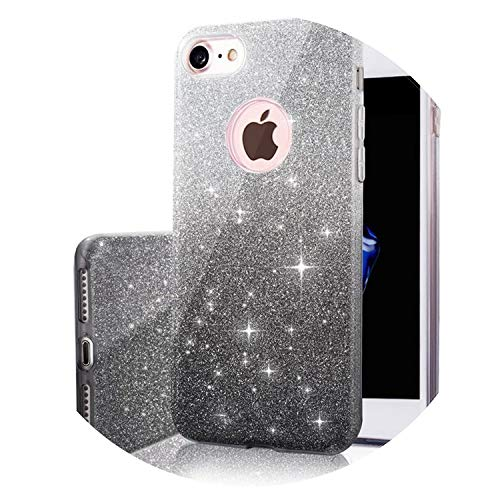(3 in 1 Gradient Cover for iPhone 6 6S Plus 5S Case Glitter Clear PC+TPU Coque 7 8 Plus X Cases Bling for iPhone 6s Plus,Black1,for iPhone 5 5S SE)