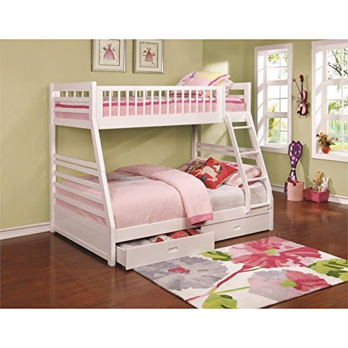 BOWERY HILL Twin Over Full Bunk Bed with 2 Drawers in White