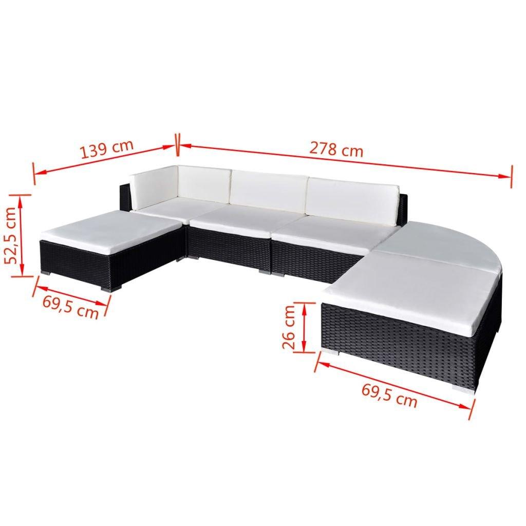 vidaXL Muebles de Jardín 16 Piezas Ratán PE Negro y Blanco Mobiliario Exterior