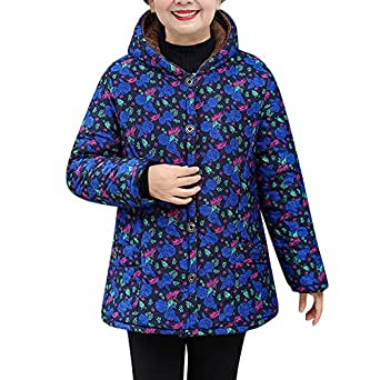 8cbf363f4348c Owill Womens Winter Warm Outwear Floral Print Hooded Pockets Vintage  Oversize Coats(Blue