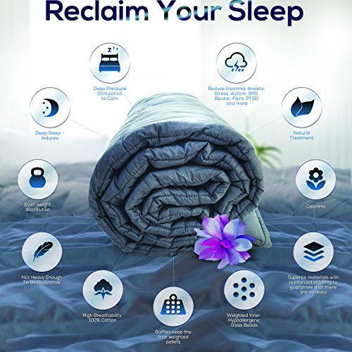 Weighted Blanket 20 lbs 60x80 inches Queen Size - Premium Gravity Heavy Blanket - Great Sleep Therapy for People with Anxiety - Autism - ADHD - Insomnia or Stress - Cotton - Glass Beads by Zotlex (Image #7)