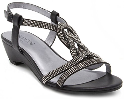 London Fog Womens Macey Demi-Wedge Dress Sandals Black 7 M US
