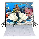 5X7Ft Cartoon Style Backdrop, Mermaid and Halobios Underwater Photography Background, Practical and Lovely Backdrop for Children or Newborn Party VV221
