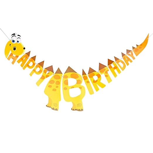 Amosfun Happy Birthday Banner Party Dinosaur Shape Garland ...