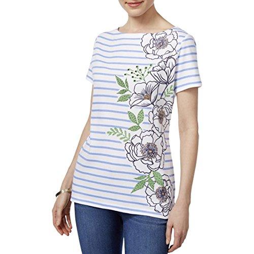 Karen Scott Womens Striped Embellished Pullover Top White XL (Striped Embellished)