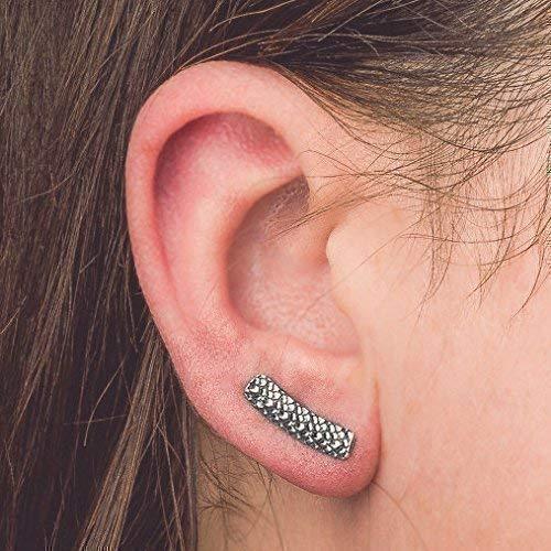 Dragon Scales Ear Climber Earrings in Sterling Silver - Reptile, Amphibian, Lizard Ear Pins
