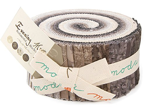 Moda Sentimental Studios (Evening Mist By Sentimental Studios Moda Jelly Roll, Set of 40 2.5x44-inch (6.4x112cm) Precut Cotton Fabric Strips)