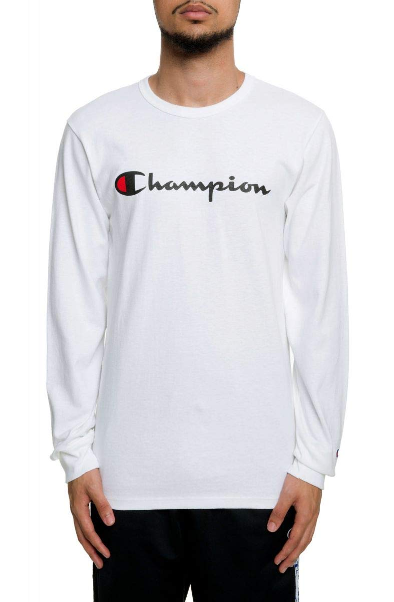 Champion LIFE Men's Heritage Long Sleeve Tee, White/Ink Graphic/Script, X-Large