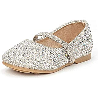 DREAM PAIRS MUY-Shine-INF Mary Jane Girls Rhinestone Studded Slip On Ballet Flats Toddler New Gold Size 8