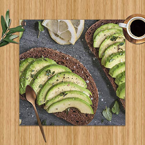 JGD Placemats, Heat-Resistant Placemats Stain Resistant Anti-Skid Washable Polyester Table Mats, Set of 4,12 x 12 inch, Avocado Sandwich on Dark Rye Bread Food and Drink