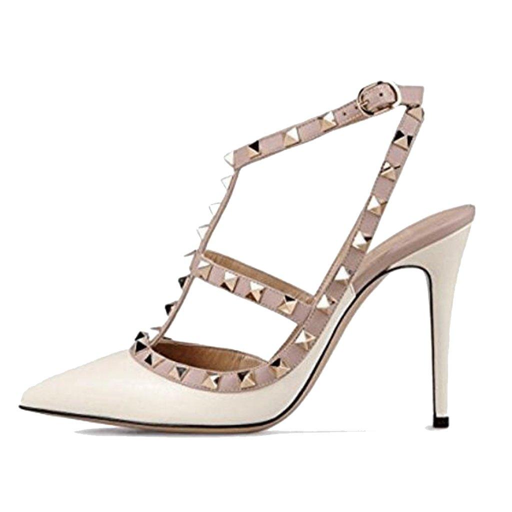 LYY.YY Zapatos De Mujer De Punta Estrecha con Remaches Zapatos Individuales Sandalias De Tacón Bajo De Primavera Y Verano (Altura del Tacón: 11-13Cm),White,39 39|White