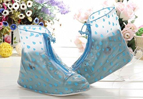 Modèle De Goutte Deau Bleu Étanche Antidérapante Réutilisable Femme Fille Couvre-chaussures 1 Paire