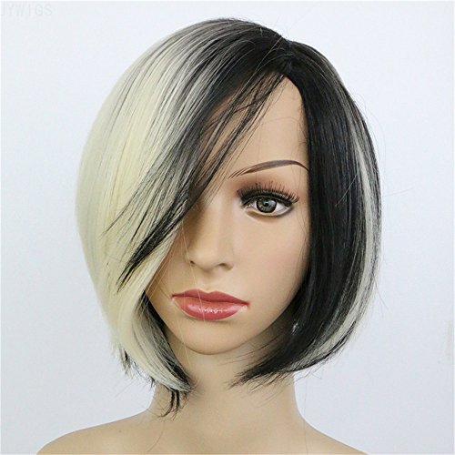 JYWIGS Blonde and Black Wig Western Style with Bangs Side Parting Hairnets Gift ()