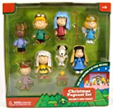 Peanuts Charlie Brown Christmas Nativity Pageant PVC Set of 9 Mini Figures with Fold Out Christmas Stage