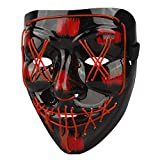 Halloween Scary Mask Lighted Face Mask for Adult, Kids Red