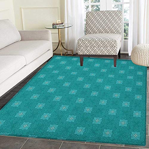 13800 Rug (Moroccan Area Rug Carpet Timeless Motifs of The Orient with Geometric Composition Far East Asia Customize Door mats for Home Mat 2'x3' Teal Pale Blue White)