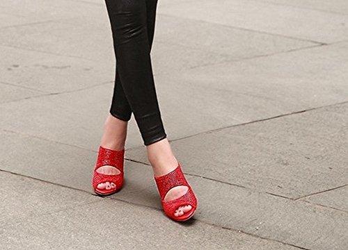 Carolbar Femmes Peep Toe Strass Chic Robe Partie Chunky Haut Talon Sandales Pantoufles Rouge