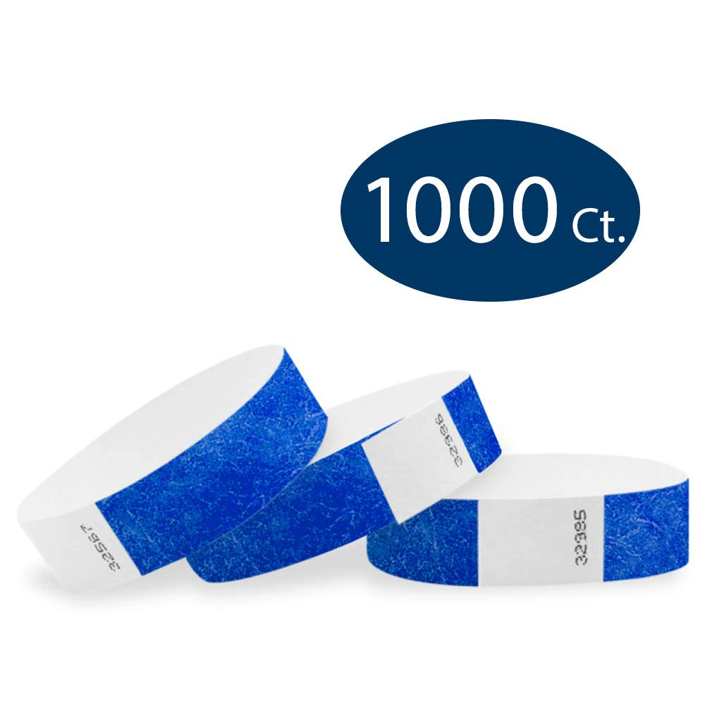 WristCo Marine Blue 3/4'' Tyvek Wristbands - 1000 Pack Paper Wristbands for Events by Wristco