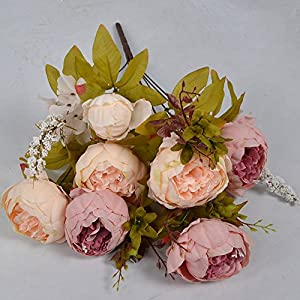 Fake Silk Flowers Floral Arrangement 13 Heads Peony Bridal Bouquet Artificial Silk Peony for Home Office Decoration and Wedding 43