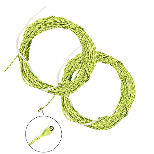 AnglerDream Tenkara Line Tapered Braided Furled Leader Fly Fishing Line Ring - 12FT 13FT - 20LB in Gold, Grass Green, Yellow Black, Balck