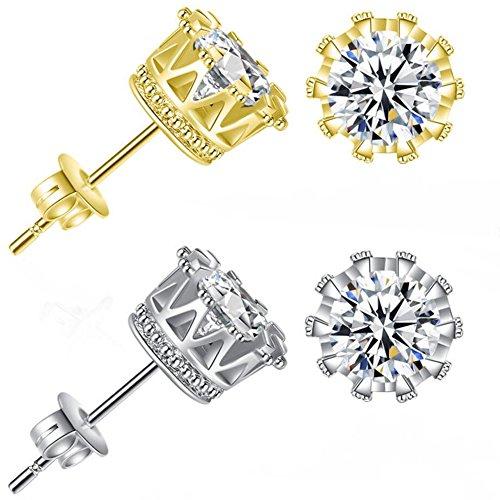 Gold Design Earrings - Bling Toman Round Cut Cubic Zirconia CZ Stud Earrings Women Mens Earrings Crown Earring 3.50 Carats (Gold + Silver)