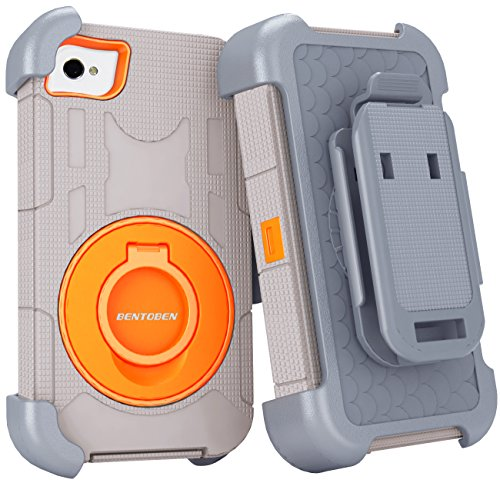 iPhone 4S Case, iPhone 4 Case, BENTOBEN Shockproof Heavy Duty Protection Hybrid Rugged Rubber Built-in Rotating Kickstand Belt Swivel Clip Holster for iPhone 4 4S,Grey/Orange (Iphone 4 Case With Clip compare prices)