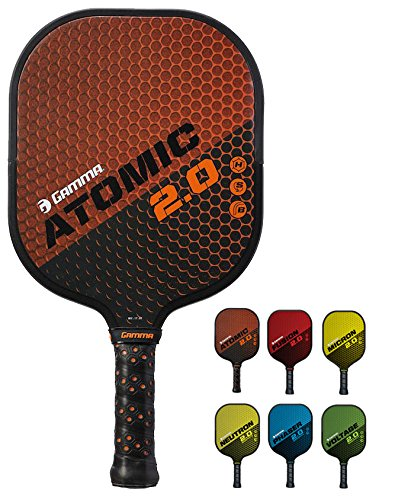 Atomic Ball - GAMMA Sports 2.0 Pickleball Paddles: Atomic 2.0 Pickleball Rackets - Textured Fiberglass Face - Mens and Womens Pickle Ball Racquet - Indoor and Outdoor Racket - Orange Pickle-Ball Paddle - 8 oz