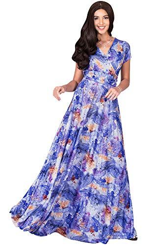 KOH KOH Womens Long Flowy Short Cap Sleeve Floor Length Modest Elegant V-Neck Floral Print Casual Spring Summer Sundress Sun Gown Gowns Maxi Dress Dresses, Royal Blue & White L 12-14