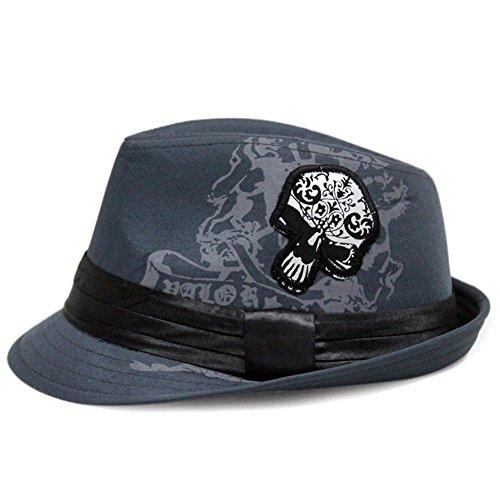 29be44af LOCOMO Skull Bone Skeleton Trilby Fedora Short Upturn Hat Cap FFH379GRY