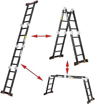 AOLI Escalera Telescópica Herringbone, Escalera Telescópica Portátil Plegable Multifunción para Trabajo Pesado para Obra de Construcción Herramienta Auxiliar Ascendente Escalera Plegable 4.75M / 187I: Amazon.es: Bricolaje y herramientas